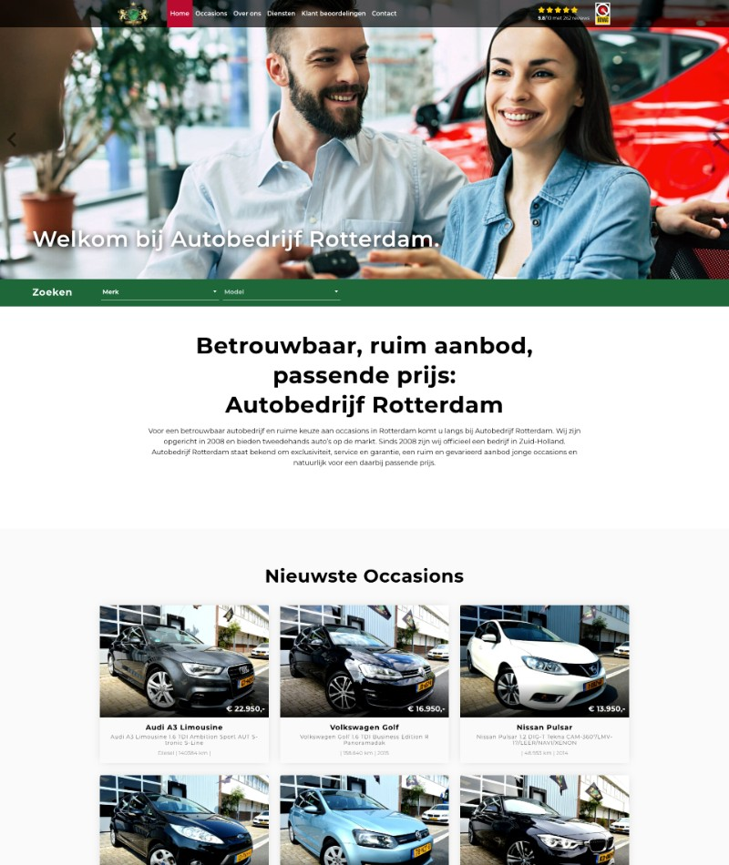 Autobedrijf website laten maken